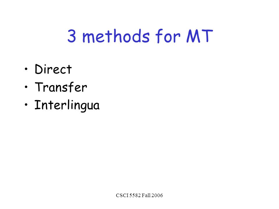 CSCI 5582 Fall 2006 3 methods for MT Direct Transfer Interlingua