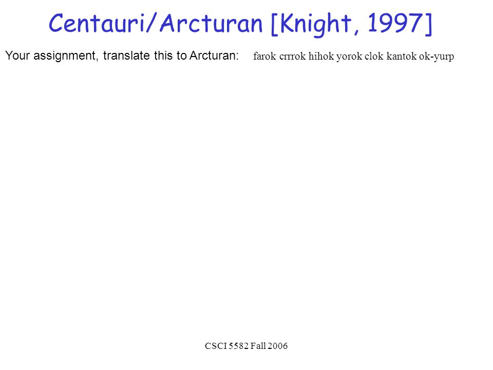 CSCI 5582 Fall 2006 Centauri/Arcturan [Knight, 1997] Your assignment, translate this to Arcturan: farok crrrok hihok yorok clok kantok ok-yurp