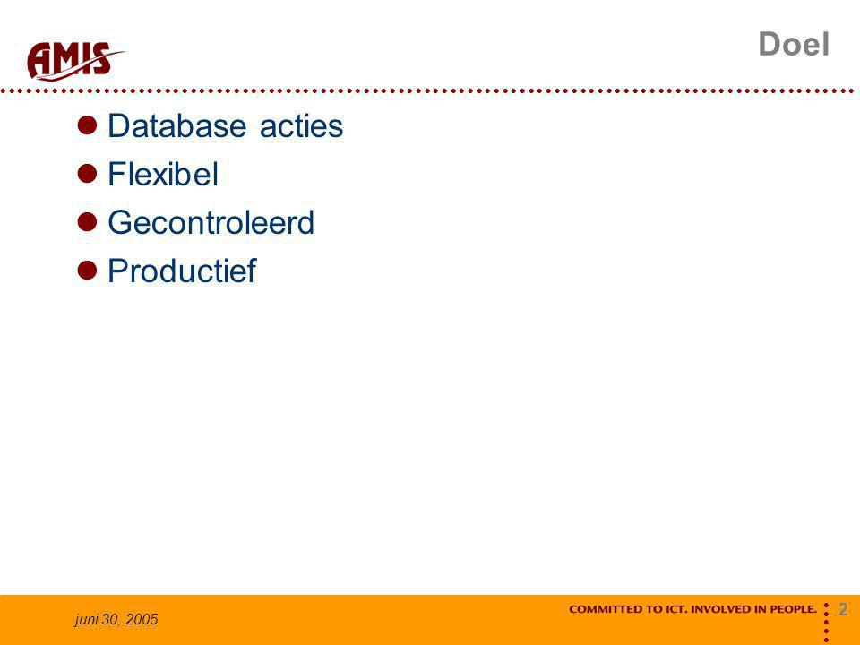 2 juni 30, 2005 Doel Database acties Flexibel Gecontroleerd Productief