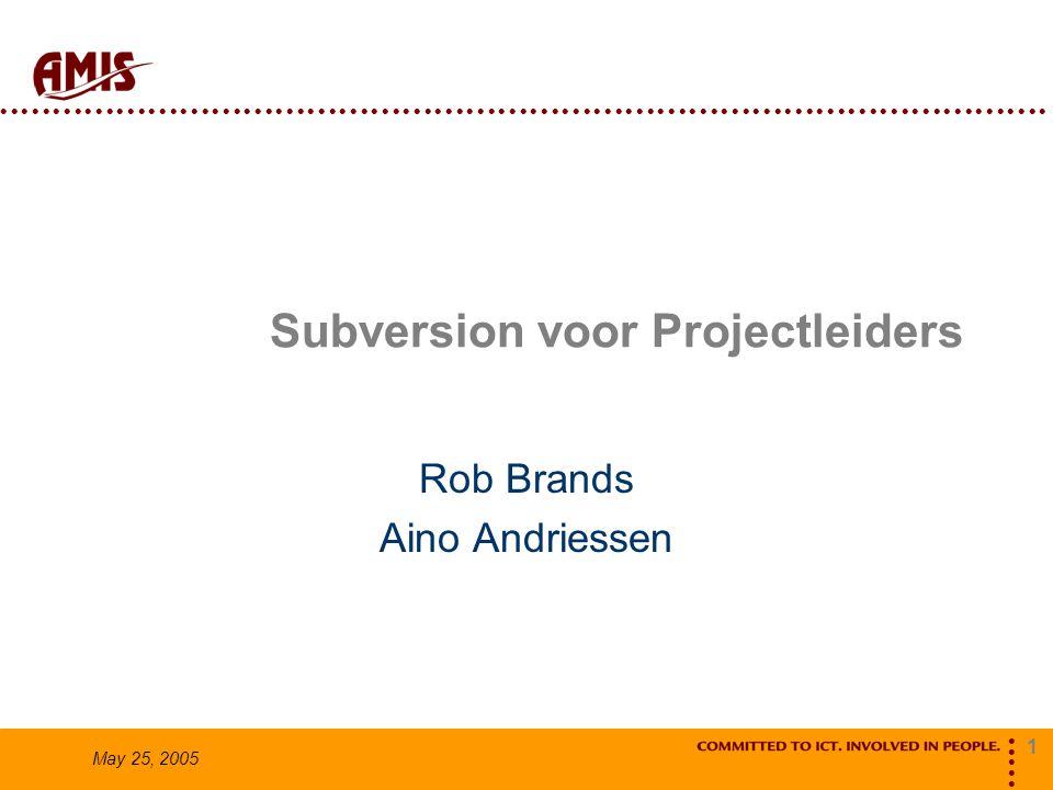1 May 25, 2005 Subversion voor Projectleiders Rob Brands Aino Andriessen