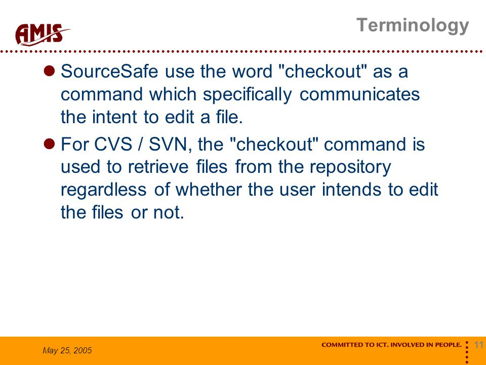 11 May 25, 2005 Terminology SourceSafe use the word