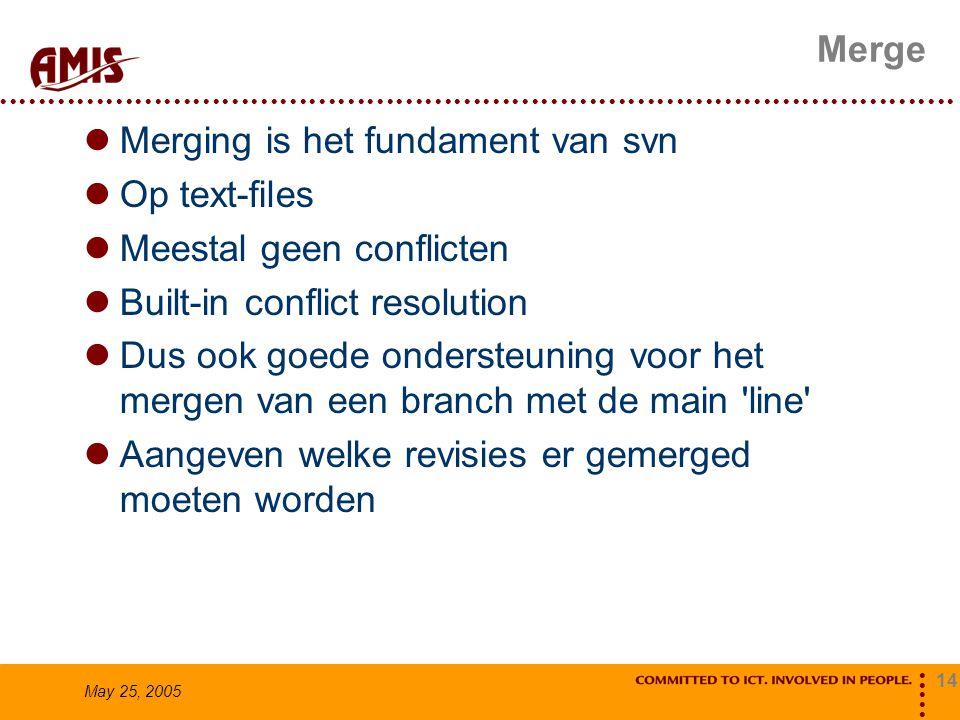 14 May 25, 2005 Merge Merging is het fundament van svn Op text-files Meestal geen conflicten Built-in conflict resolution Dus ook goede ondersteuning