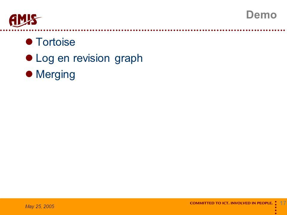 17 May 25, 2005 Demo Tortoise Log en revision graph Merging