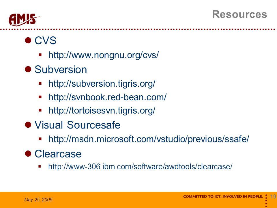 19 May 25, 2005 Resources CVS  http://www.nongnu.org/cvs/ Subversion  http://subversion.tigris.org/  http://svnbook.red-bean.com/  http://tortoise