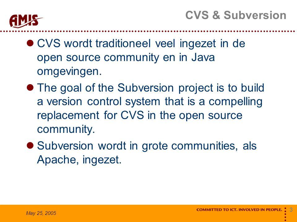3 May 25, 2005 CVS & Subversion CVS wordt traditioneel veel ingezet in de open source community en in Java omgevingen. The goal of the Subversion proj