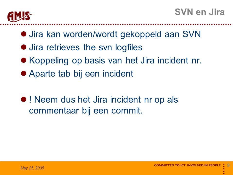 9 May 25, 2005 SVN en Jira Jira kan worden/wordt gekoppeld aan SVN Jira retrieves the svn logfiles Koppeling op basis van het Jira incident nr. Aparte