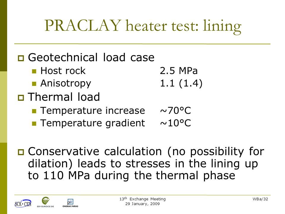 13 th Exchange Meeting 29 January, 2009 WBa/32 PRACLAY heater test: lining  Geotechnical load case Host rock2.5 MPa Anisotropy1.1 (1.4)  Thermal load Temperature increase ~70°C Temperature gradient ~10°C  Conservative calculation (no possibility for dilation) leads to stresses in the lining up to 110 MPa during the thermal phase