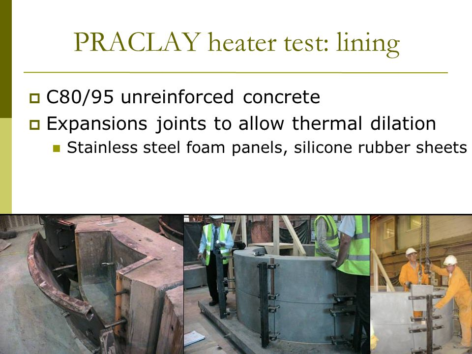 13 th Exchange Meeting 29 January, 2009 WBa/33 PRACLAY heater test: lining  C80/95 unreinforced concrete  Expansions joints to allow thermal dilation Stainless steel foam panels, silicone rubber sheets