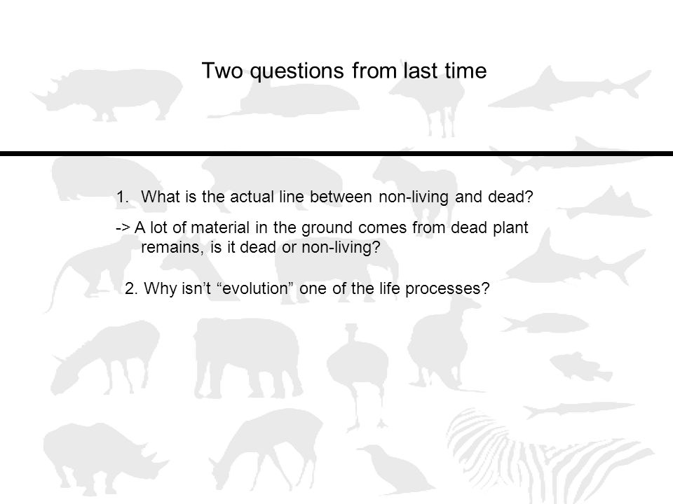 Two questions from last time 1.What is the actual line between non-living and dead.