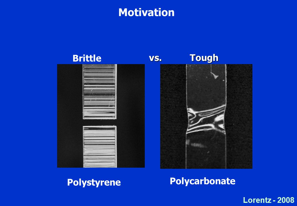 Lorentz Motivation Brittle Polystyrene Polycarbonate vs. Tough