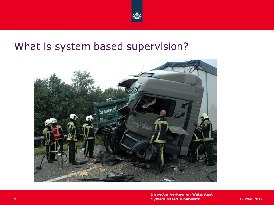 Inspectie Verkeer en Waterstaat System based supervision217 mei 2011 What is system based supervision