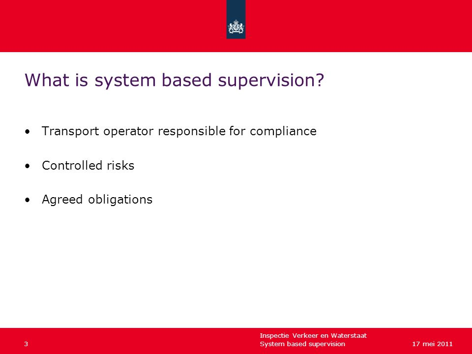 Inspectie Verkeer en Waterstaat System based supervision317 mei 2011 What is system based supervision.