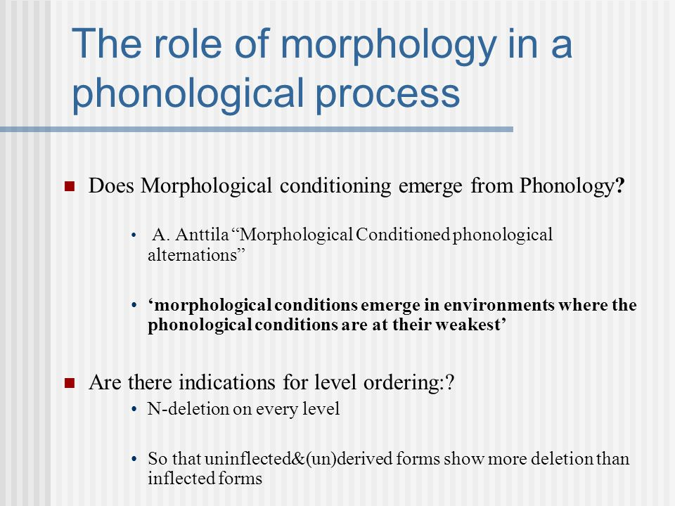 """The role of morphology in a phonological process Does Morphological conditioning emerge from Phonology? A. Anttila """"Morphological Conditioned phonolog"""