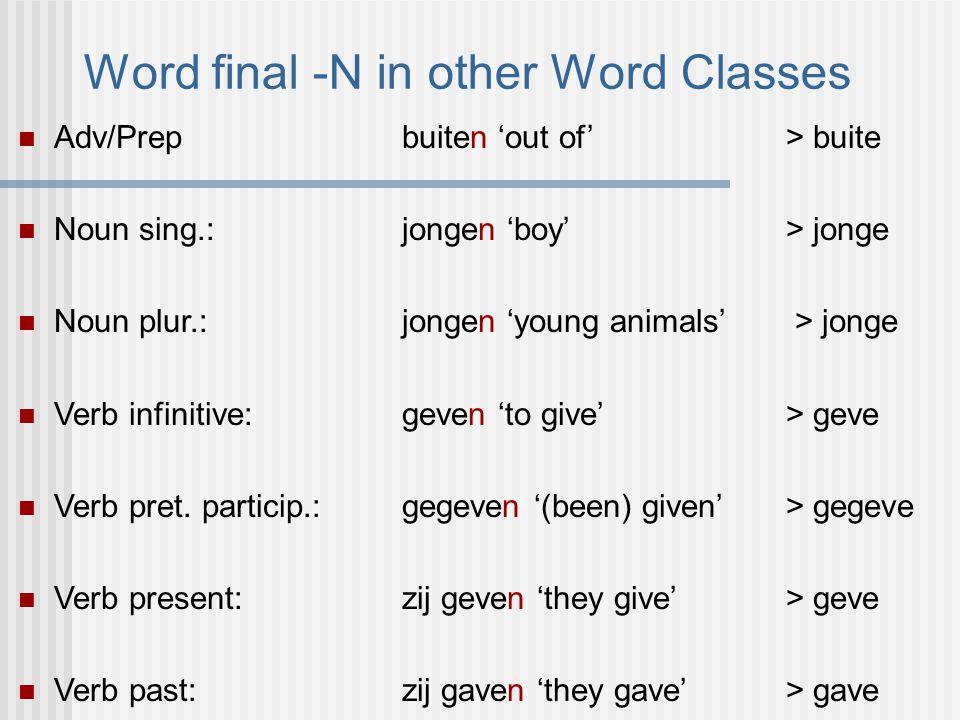 Word final -N in other Word Classes Adv/Prepbuiten 'out of' > buite Noun sing.: jongen 'boy' > jonge Noun plur.: jongen 'young animals' > jonge Verb infinitive: geven 'to give' > geve Verb pret.