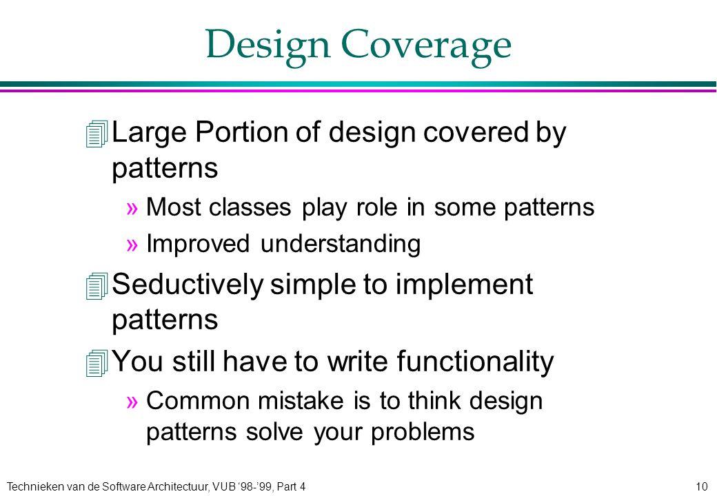 Technieken van de Software Architectuur, VUB '98-'99, Part 410 Design Coverage 4Large Portion of design covered by patterns »Most classes play role in