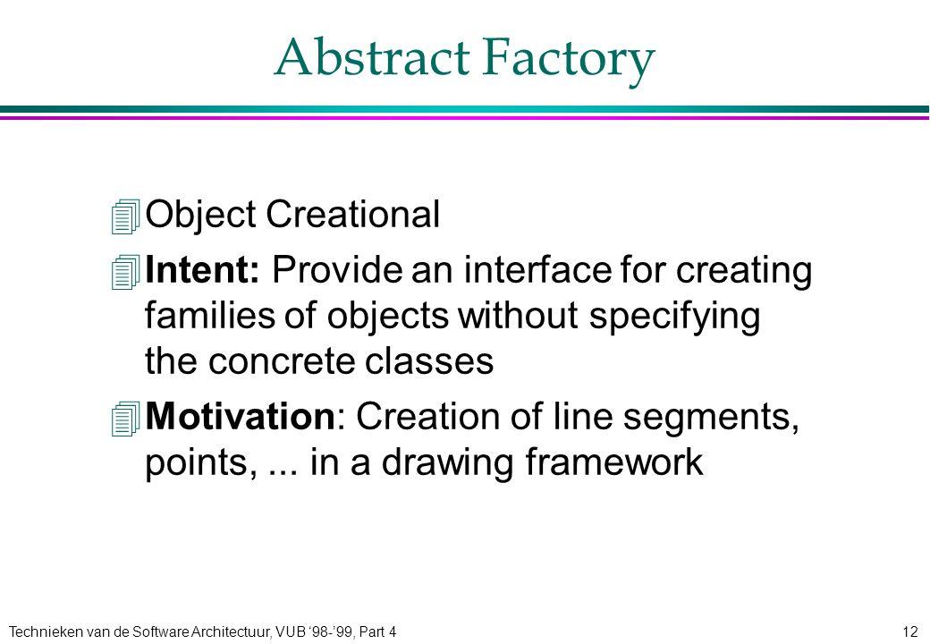 Technieken van de Software Architectuur, VUB '98-'99, Part 412 Abstract Factory 4Object Creational 4Intent: Provide an interface for creating families