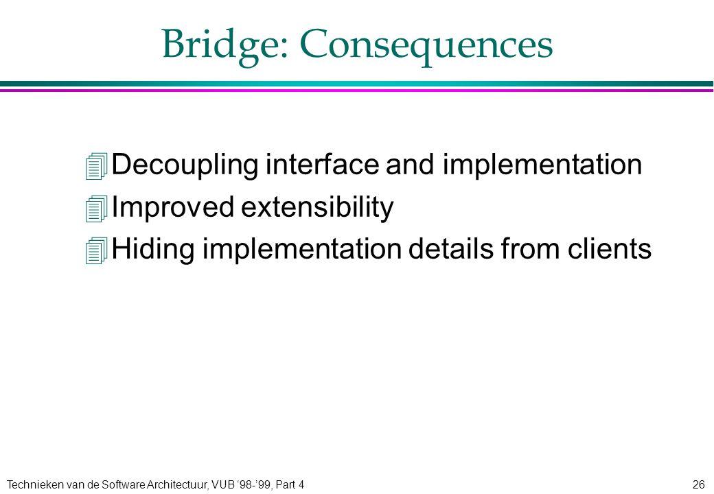 Technieken van de Software Architectuur, VUB '98-'99, Part 426 Bridge: Consequences 4Decoupling interface and implementation 4Improved extensibility 4