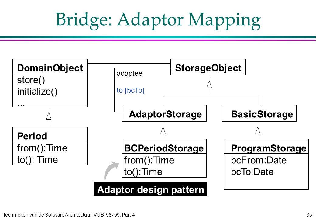 Technieken van de Software Architectuur, VUB '98-'99, Part 435 Bridge: Adaptor Mapping DomainObject store() initialize()...