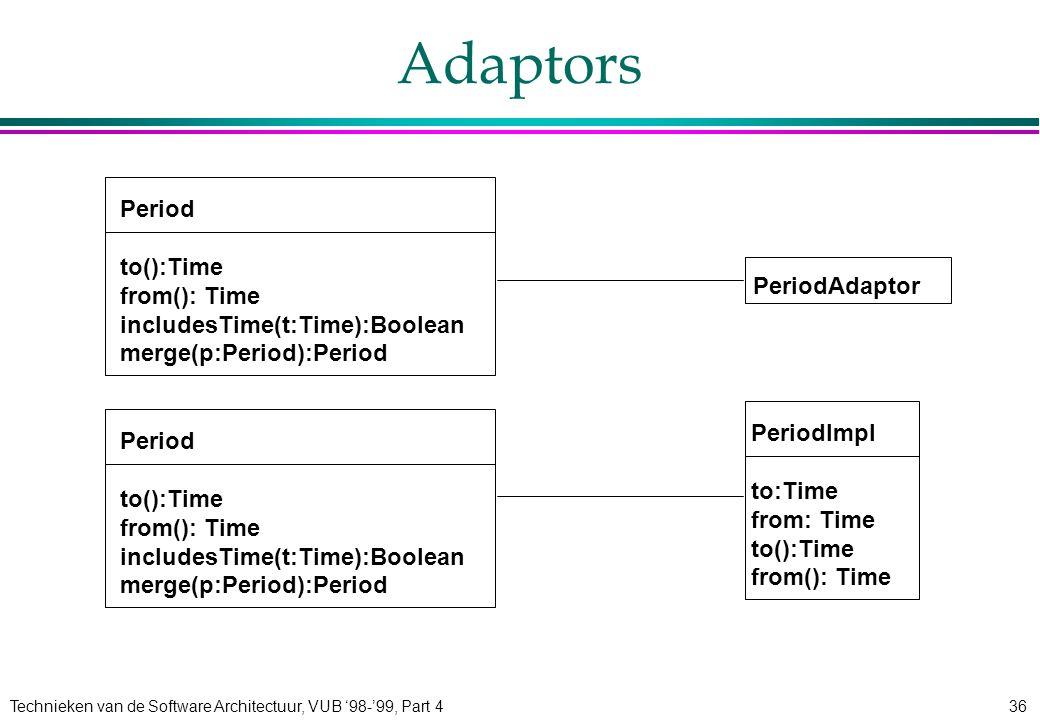 Technieken van de Software Architectuur, VUB '98-'99, Part 436 Adaptors Period to():Time from(): Time includesTime(t:Time):Boolean merge(p:Period):Per