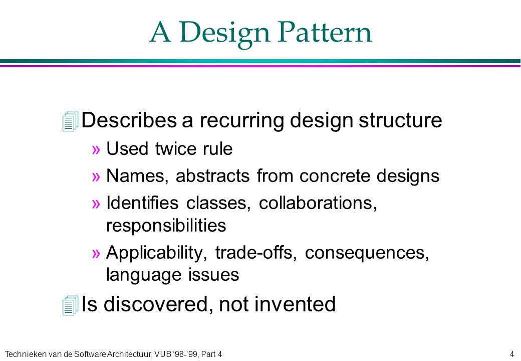 Technieken van de Software Architectuur, VUB '98-'99, Part 425 Bridge: Structure Abstraction Operation() Implementor OperationImp() imp RefinedAbstraction ConcreteImpB OperationImp() ConcreteImpA OperationImp() Client Bridge Participants