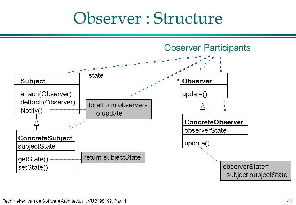 Technieken van de Software Architectuur, VUB '98-'99, Part 440 Observer : Structure Subject attach(Observer) dettach(Observer) Notify() Observer updat