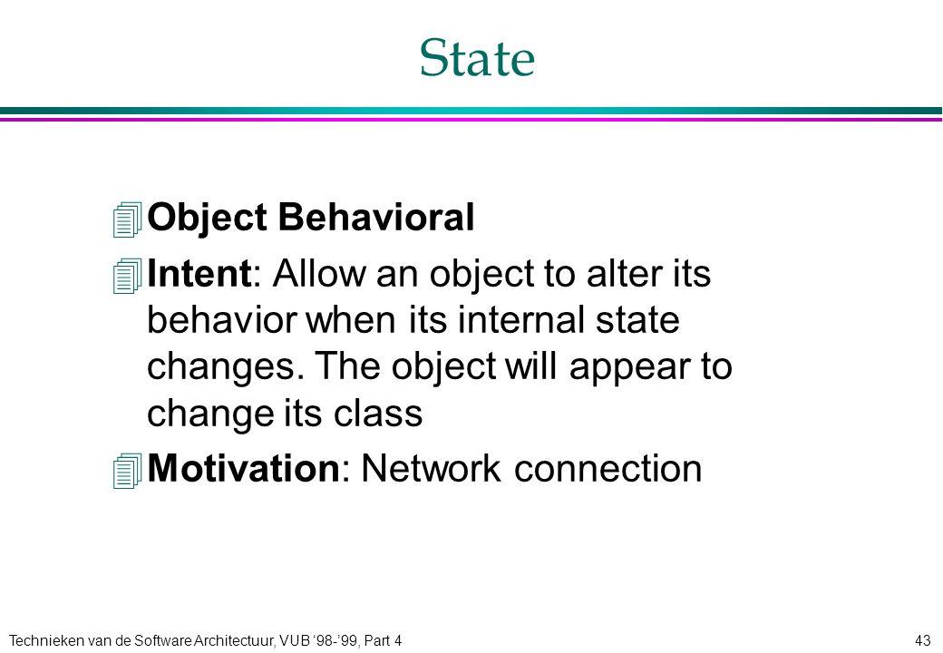 Technieken van de Software Architectuur, VUB '98-'99, Part 443 State 4Object Behavioral 4Intent: Allow an object to alter its behavior when its intern