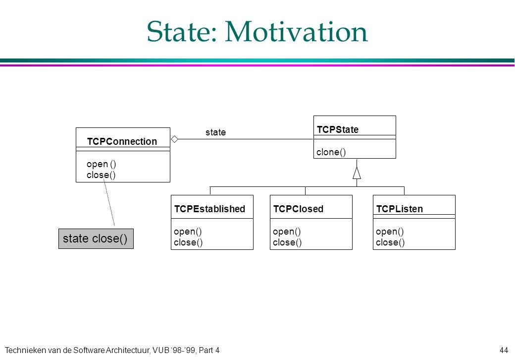 Technieken van de Software Architectuur, VUB '98-'99, Part 444 State: Motivation TCPConnection open () close() TCPState clone() TCPListen open() close() TCPClosed open() close() state TCPEstablished open() close() state close()