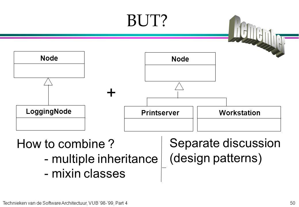 Technieken van de Software Architectuur, VUB '98-'99, Part 450 BUT? How to combine ? - multiple inheritance - mixin classes + Node LoggingNode Worksta