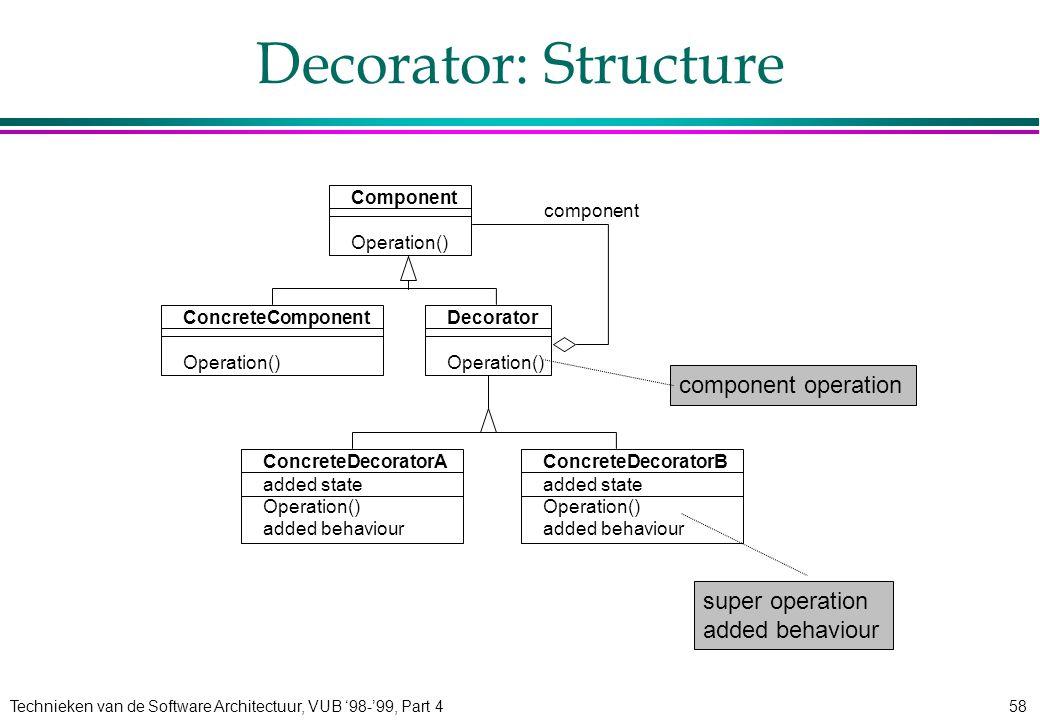 Technieken van de Software Architectuur, VUB '98-'99, Part 458 Decorator: Structure Component Operation() ConcreteComponent Operation() Decorator Oper