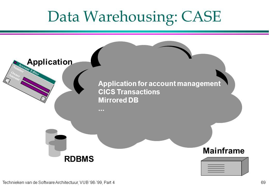 Technieken van de Software Architectuur, VUB '98-'99, Part 469 Data Warehousing: CASE Number Amount Owner Account Editor Application RDBMS Mainframe A