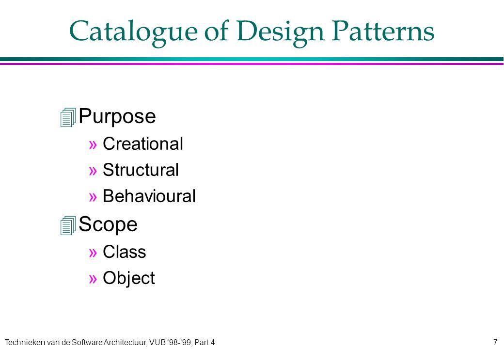 Technieken van de Software Architectuur, VUB '98-'99, Part 48 Structural Patterns 4Adaptor 4Bridge 4Composite 4Decorator 4Facade 4Flyweight 4Proxy