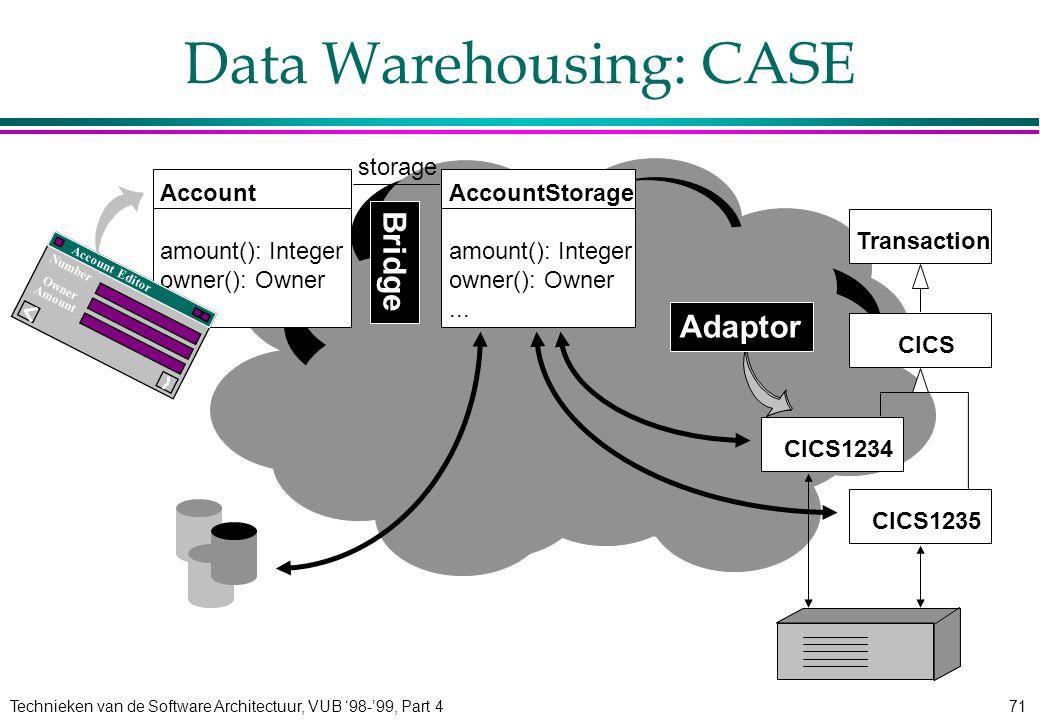 Technieken van de Software Architectuur, VUB '98-'99, Part 471 AccountStorage amount(): Integer owner(): Owner... Data Warehousing: CASE Account amoun