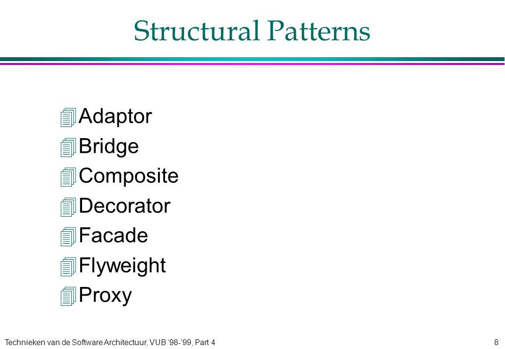 Technieken van de Software Architectuur, VUB '98-'99, Part 49 Behavioural Patterns 4Chain of Responsibility 4Command 4Interpreter 4Iterator 4Mediator 4Memento 4Observer 4State 4Strategy 4Template Method 4Visitor