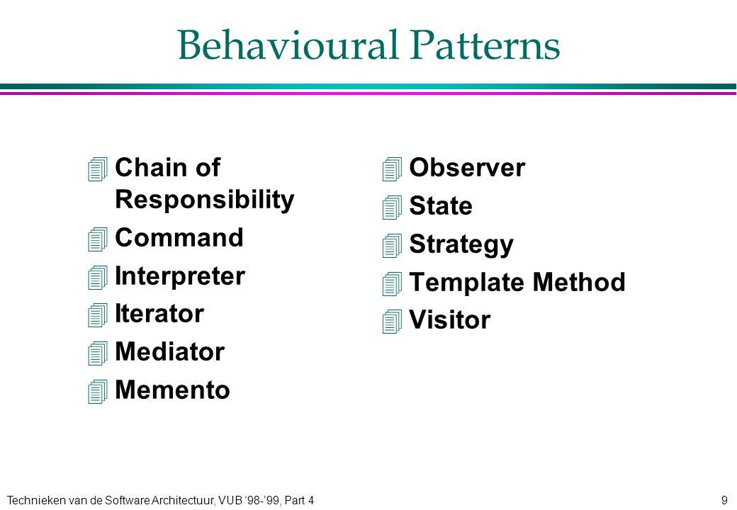 Technieken van de Software Architectuur, VUB '98-'99, Part 49 Behavioural Patterns 4Chain of Responsibility 4Command 4Interpreter 4Iterator 4Mediator