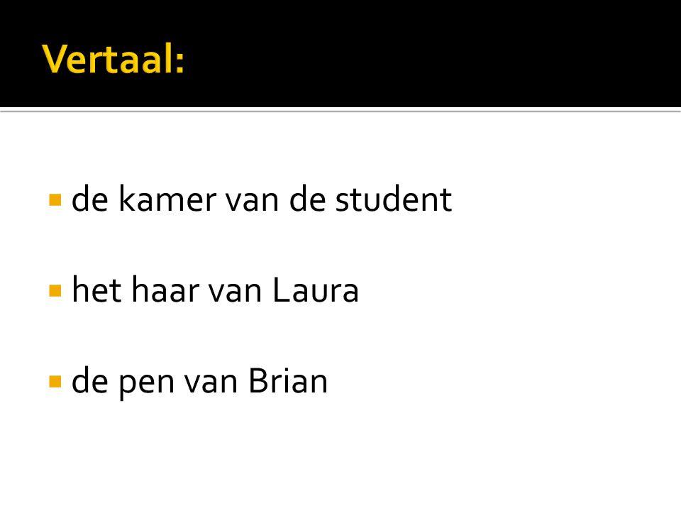  de kamer van de student  het haar van Laura  de pen van Brian