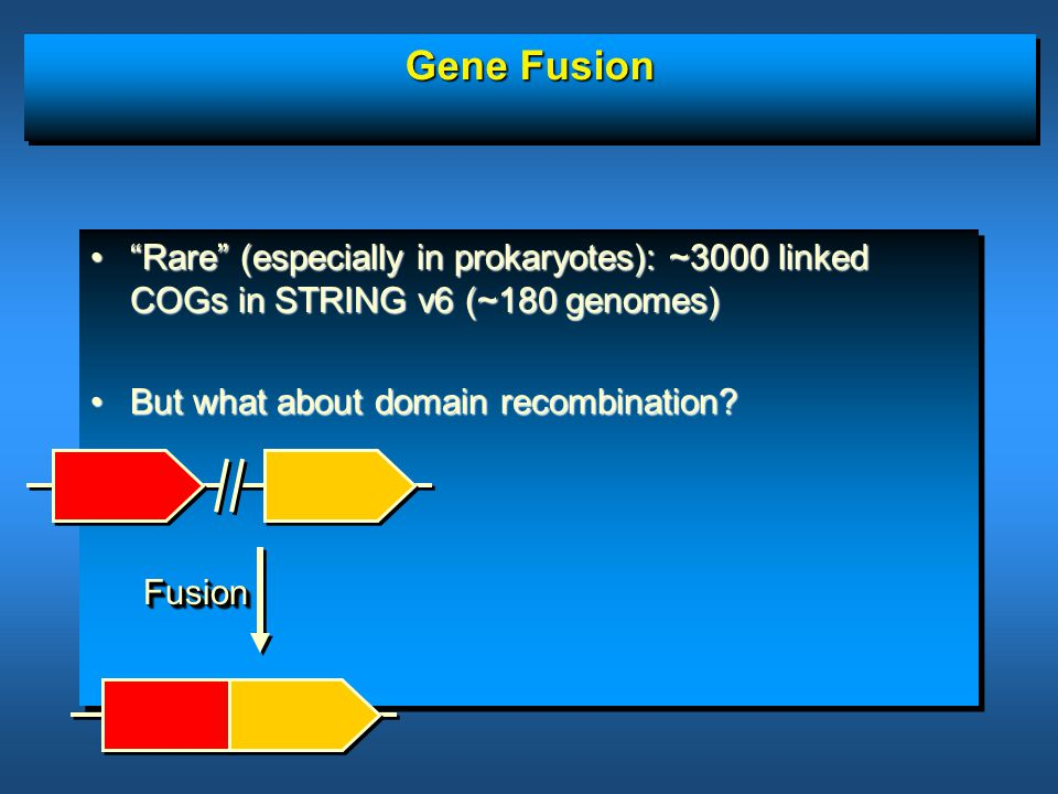 Gene Fusion Rare (especially in prokaryotes): ~3000 linked COGs in STRING v6 (~180 genomes) Rare (especially in prokaryotes): ~3000 linked COGs in STRING v6 (~180 genomes) But what about domain recombination But what about domain recombination.
