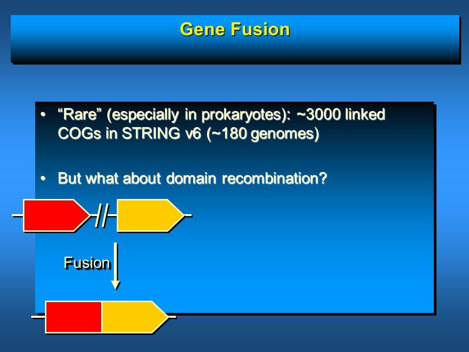 "Gene Fusion ""Rare"" (especially in prokaryotes): ~3000 linked COGs in STRING v6 (~180 genomes)""Rare"" (especially in prokaryotes): ~3000 linked COGs in"