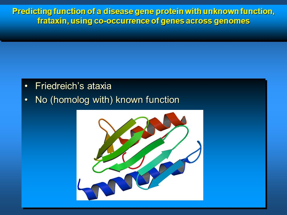 Predicting function of a disease gene protein with unknown function, frataxin, using co-occurrence of genes across genomes Friedreich's ataxiaFriedrei