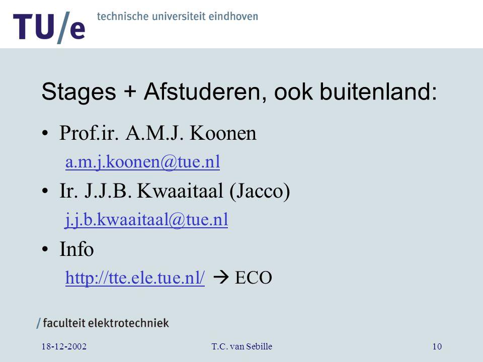 18-12-2002T.C. van Sebille10 Stages + Afstuderen, ook buitenland: Prof.ir.