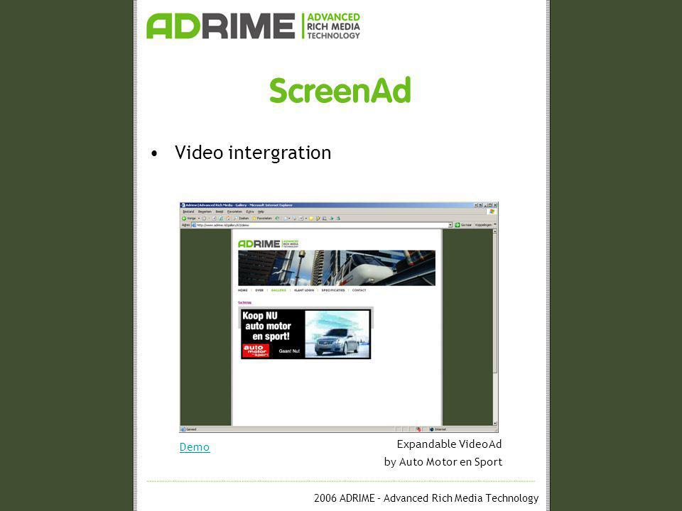 2006 ADRIME – Advanced Rich Media Technology ScreenAd Video intergration Demo Expandable VideoAd by Auto Motor en Sport