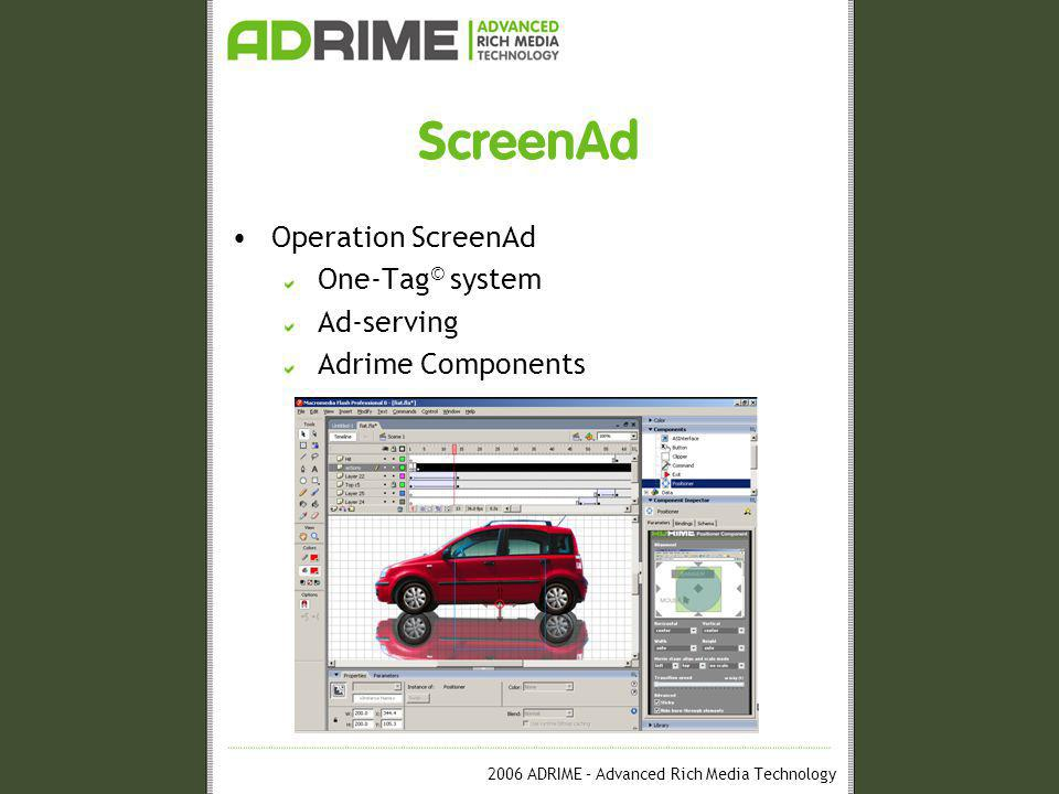 2006 ADRIME – Advanced Rich Media Technology ScreenAd Operation ScreenAd One-Tag © system Ad-serving Adrime Components
