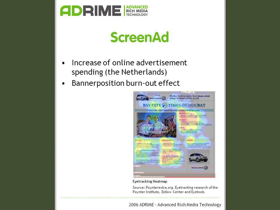 2006 ADRIME – Advanced Rich Media Technology ScreenAd Increase of online advertisement spending (the Netherlands) Bannerposition burn-out effect Eyetracking Heatmap Source: Poynterextra.org.