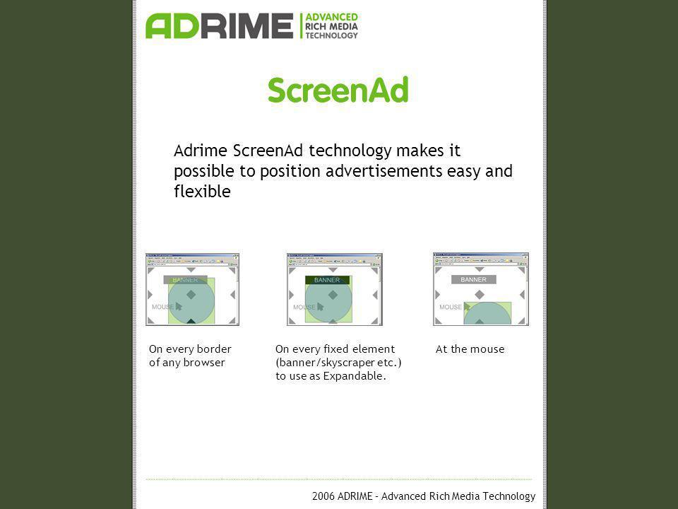 2006 ADRIME – Advanced Rich Media Technology ScreenAd Operation ScreenAd One-Tag © system
