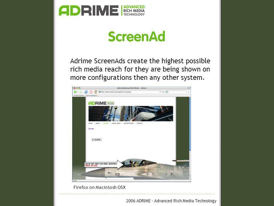 2006 ADRIME – Advanced Rich Media Technology ScreenAd Operation ScreenAd One-Tag © system Ad-serving