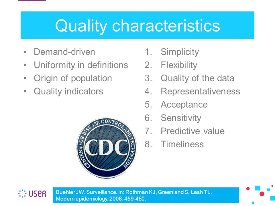 Quality characteristics Demand-driven Uniformity in definitions Origin of population Quality indicators 1.Simplicity 2.Flexibility 3.Quality of the data 4.Representativeness 5.Acceptance 6.Sensitivity 7.Predictive value 8.Timeliness 5 Buehler JW.