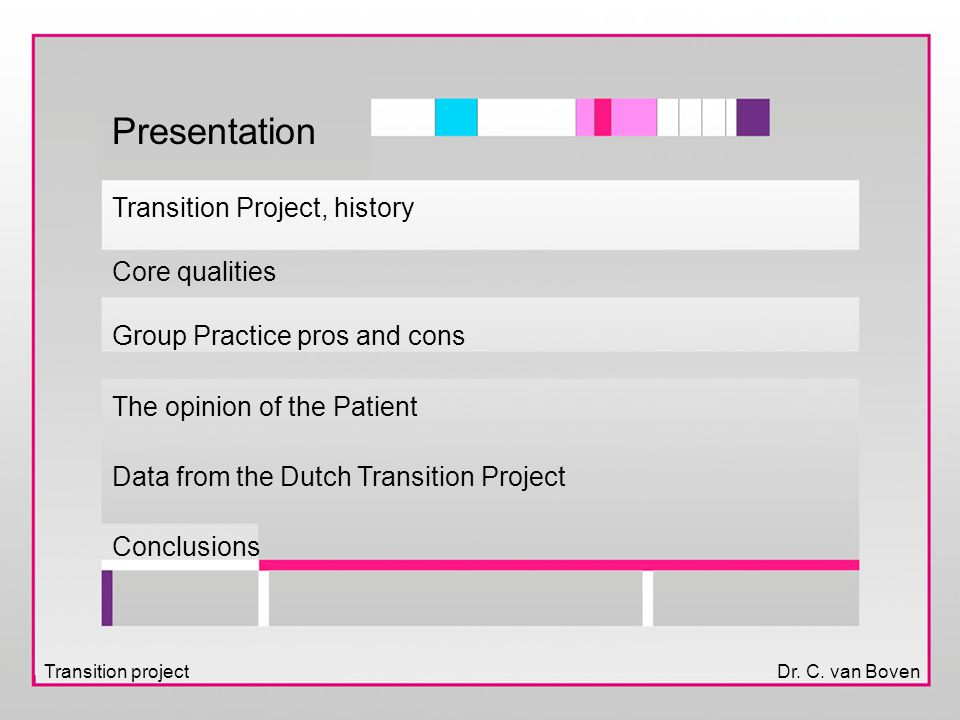 Transition projectDr. C. van Boven Presentation Transition Project, history Core qualities Group Practice pros and cons The opinion of the Patient Dat