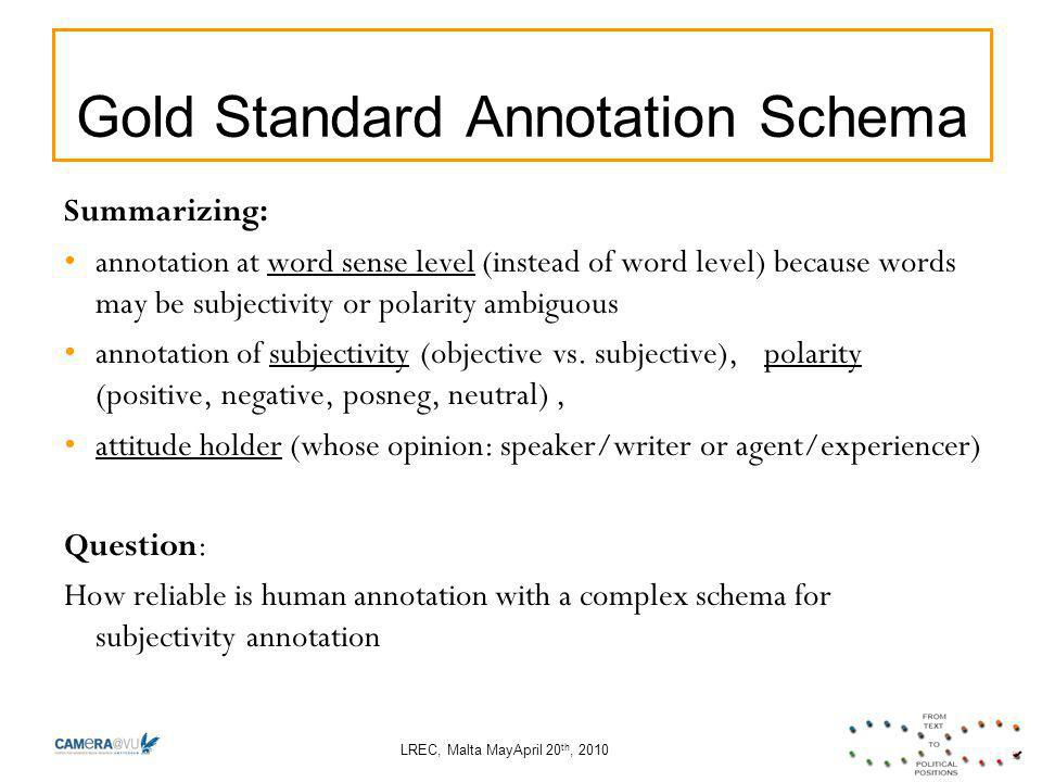 LREC, Malta MayApril 20 th, 2010 Gold Standard Annotation Schema Summarizing: annotation at word sense level (instead of word level) because words may be subjectivity or polarity ambiguous annotation of subjectivity (objective vs.