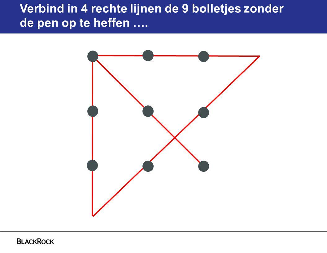 Verbind in 4 rechte lijnen de 9 bolletjes zonder de pen op te heffen ….