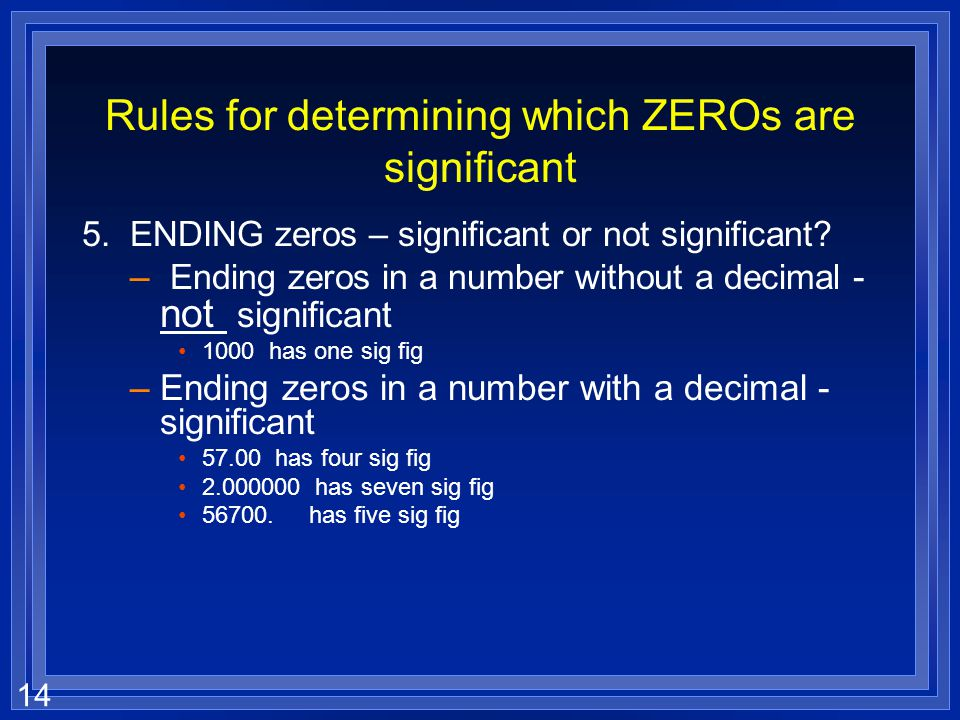 13 Rules for determining which ZEROs are significant 4.