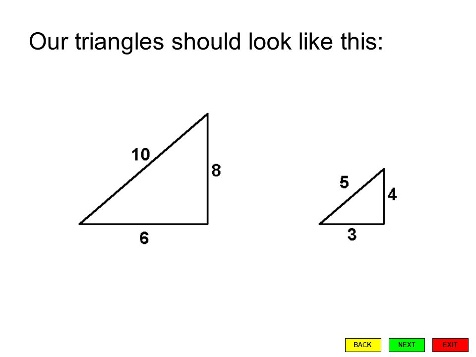 Our triangles should look like this: EXIT BACKNEXT